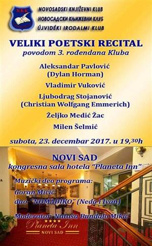"""Poetski recital povodom 3-ćeg rođendana """"Novosadskog književnog kluba""""!!!"""