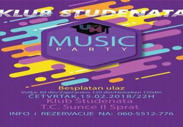 Udruženje mladih Ćuprije organizuje Studentsku žurku!!!