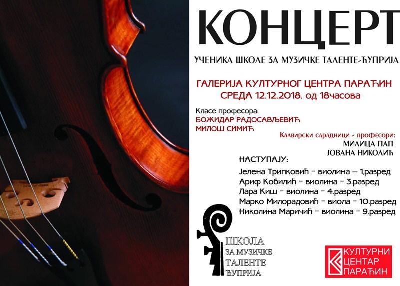 U Paraćinu koncert učenika Škole za muzičke talente iz Ćuprije !!!