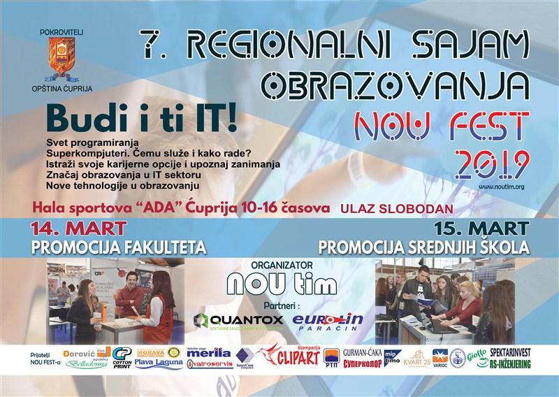 """Sedmi Regionalni sajam obrazovanja – NOUFEST 2019 pod sloganom """"Budi i ti IT"""" 14. i 15. marta u Hali sportova """"ADA"""" u Ćupriji !!!"""
