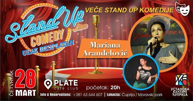 STAND UP veče sa Marianom Aranđelović u Cafe-u PLATE !!!
