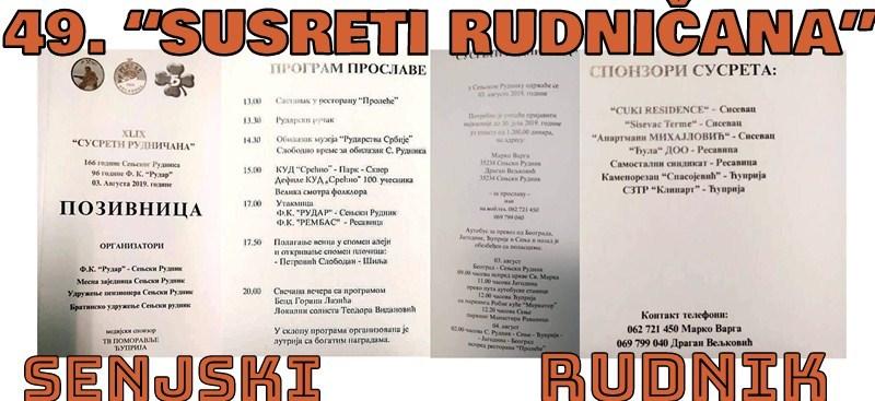Sledeće subote SUSRETI RUDNIČANA u Senjskom Rudniku !!!