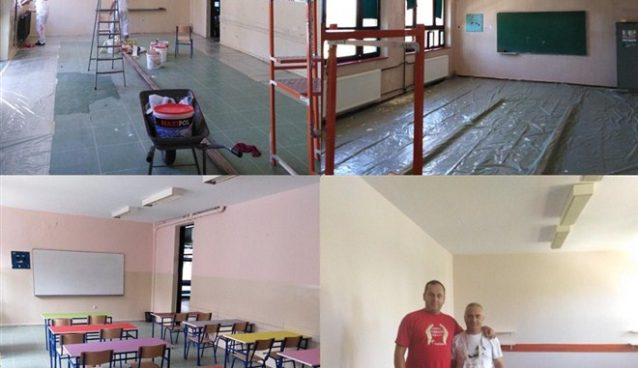 """Sredjivanje pred početak nove školske godine u ćuprijskoj OŠ """"13. oktobar"""" - Zlatne ruke školskih domara !!!"""