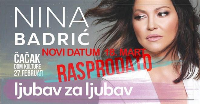 Solistički koncert pop pevačice Nine Badrić ODLOŽEN za 18. MART !!!