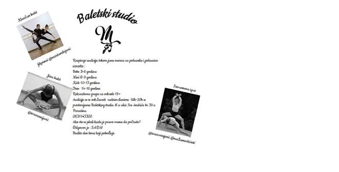 Baletski studio M iz Paraćina raspisuje konkurs za upis novih polaznika i polaznica !!!