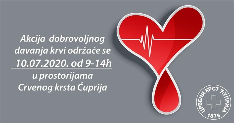 Crveni krst Ćuprije organizuje novu akciju dobrovoljnog davanja krvi !!!