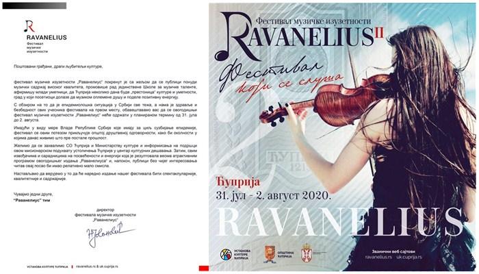 Drugi festival muzičke izuzetnosti RAVANELIUS otkazan zbog korona virusa !!!