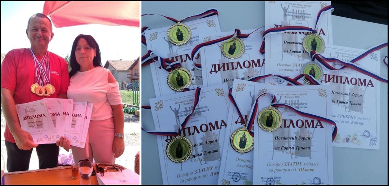Na medjunarodnom festivalu rakije, Zoran Novaković iz Gornje Trnave osvojio osam nagrada za kvalitet !!!
